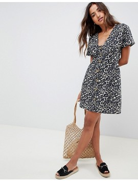 asos-design-button-through-mini-casual-skater-dress-in-leopard-print by asos-design