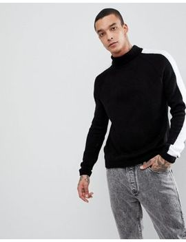 asos-fluffy-roll-neck-jumper-with-stripe-in-black by asos