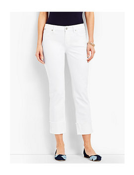 Cuffed Denim Straight Crop   White by Talbots