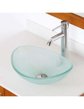 Elite Unique Oval Frosted Tempered Glass Bathroom Vessel Sink With Faucet Combo by Elite