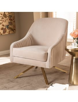 Glamour Velvet Fabric And Gold Base Lounge Chair By Baxton Studio by Baxton Studio