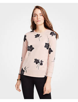 Petite Shimmer Floral Sweatshirt by Ann Taylor