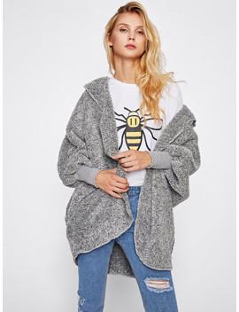 Wide Cuff Hooded Dolman Sleeve Fluffy Coat by Shein