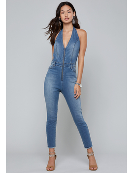 Denim Crop Halter Jumpsuit by Bebe
