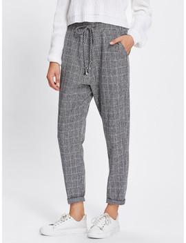Rolled Hem Drawstring Plaid Pants by Shein