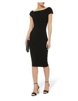 Twist Shoulder Fitted Midi Dress by Victoria Beckham