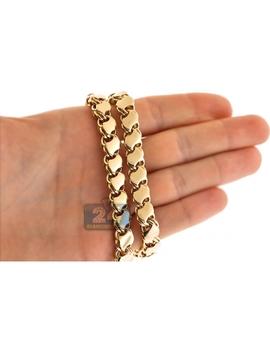 Custom 14 K Yellow Gold Leaf Bismark Link Mens Chain 9 Mm by 24diamonds