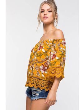 Floral Crochet Off Shoulder Top by A'gaci