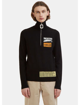 Bubblegum Patch Zip Up Polo Sweater In Black by Jw Anderson