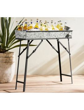 Galvanized Metal Beer Trough & Stand With Bottle Opener by Pottery Barn