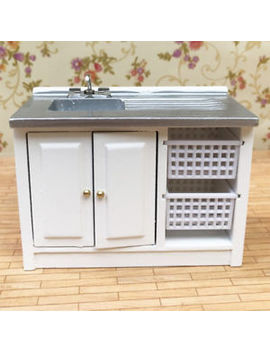 1/12 Dollhouse Miniature Furniture Wooden Washing Cabinet / Kitchen Cabinet by Unbranded