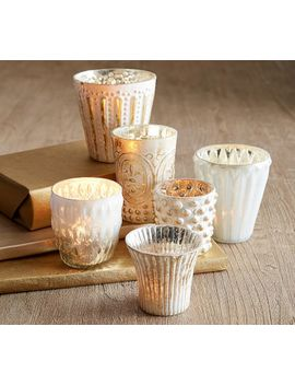 Eclectic Mercury Votives, Set Of 6   Silver by Pottery Barn
