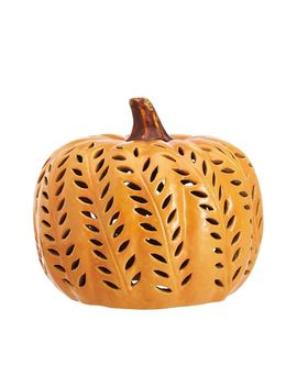 Punched Ceramic Pumpkin Candleholders by Pottery Barn