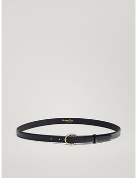 Leather Belt With Round Buckle by Massimo Dutti