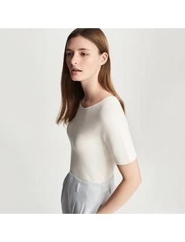 Women 3 D Cotton Crew Neck  Short Sleeve Sweater by Uniqlo