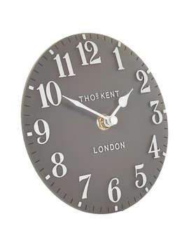 Thomas Kent Arabic Mantel Clock, Dia.15cm, Dolphin Grey by Thomas Kent