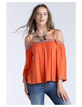 Miss Me Women's Orange Off Shoulder Embroidered Top by Missme