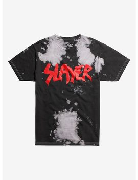 Slayer Logo Bleach Wash T Shirt by Hot Topic