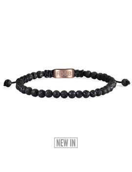 Minimal Collection   Lava Stone Bead Bracelet by Rose Gold & Black