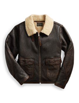 Leather Trim Shearling Jacket by Ralph Lauren