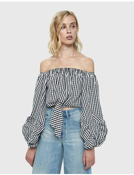 Linh Gingham Cropped Blouse by Farrow