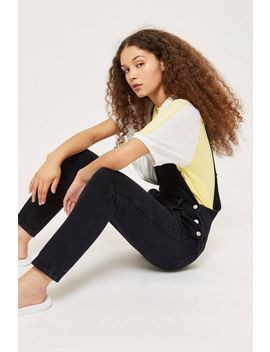 Tall Washed Black Slim Leg Dungarees by Topshop