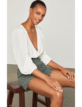 Pleated Shoulder Faux Wrap Bodysuit by Bcbgmaxazria