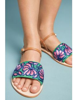 Anthropologie Bright Floral Sandals by Anthropologie