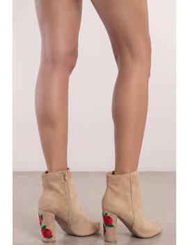 Kat Embroidered Natural Peep Toe Booties by Tobi