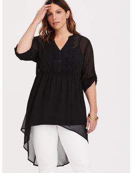 Lexie   Black Chiffon & Lace Babydoll Tunic by Torrid