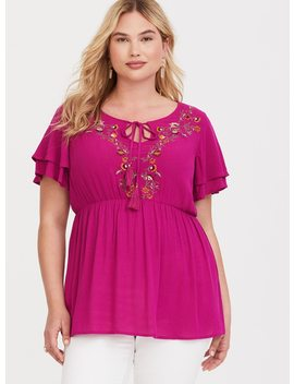 Rose Pink Embroidered Crepe Babydoll Top by Torrid