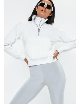 White Zip Front High Neck Cropped Sweatshirt by Missguided