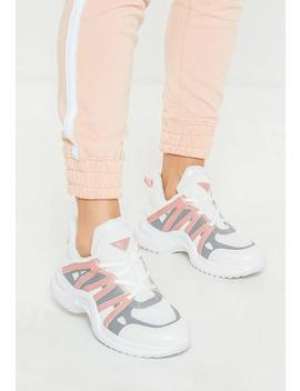 Pink Arched Colour Detail Trainers by Missguided