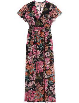Wrap Effect Floral Print Fil Coupé Maxi Dress by Just Cavalli