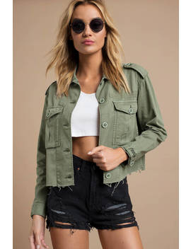 Pistola Chlo Olive Cropped Military Jacket by Tobi