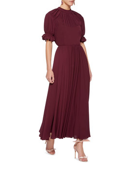 Philly Pleated Satin Dress by Emilia Wickstead