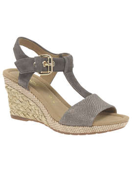 Gabor Karen Wide Fit Wedge Heeled Sandals, Grey Leather by Gabor