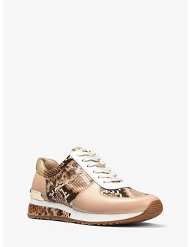 Allie Snake Embossed Leather Sneaker by Michael Michael Kors