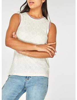 Ivory Ribbed Lace Shell Top by Dorothy Perkins