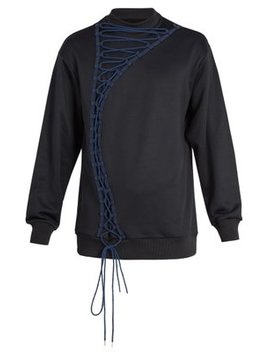 Lace Up Cotton Blend Sweatshirt by Marques'almeida