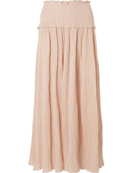 Bayou Shirred Crinkled Ramie And Cotton Blend Maxi Skirt by Zimmermann