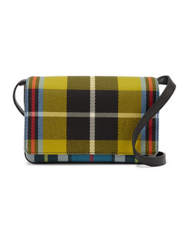 Checked Twill And Textured Leather Shoulder Bag by Burberry