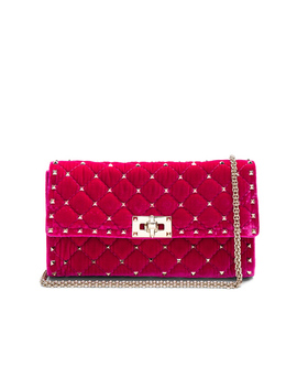 Velvet Quilted Rockstud Spike Clutch by Valentino