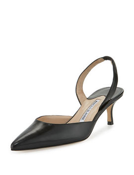 Carolyne Leather Low Heel Slingback Pump by Manolo Blahnik