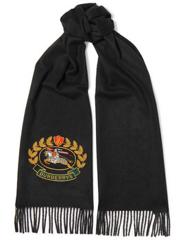 Embroidered Cashmere Scarf by Burberry