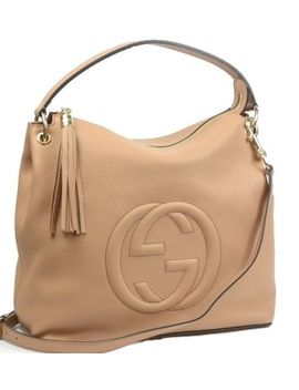 Gucci 408825 Soho Leather 2 Way Shoulder Hand Tote Bag Beige Gold Never Used by Gucci