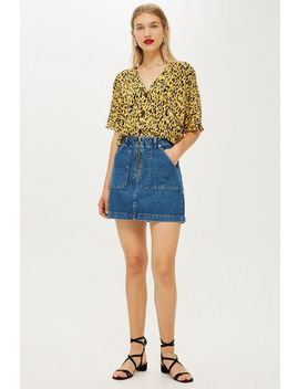 Utility Zip Up Denim Skirt by Topshop