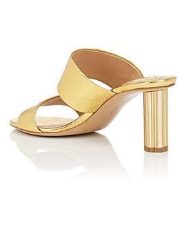 Flower Heel Metallic Leather Sandals by Salvatore Ferragamo