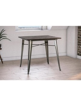 Dhp Antique Gun Metal/ Wood Fusion Square Dining Table by Dhp