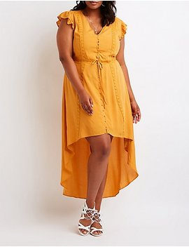 Plus Size Button Up High Low Dress by Charlotte Russe